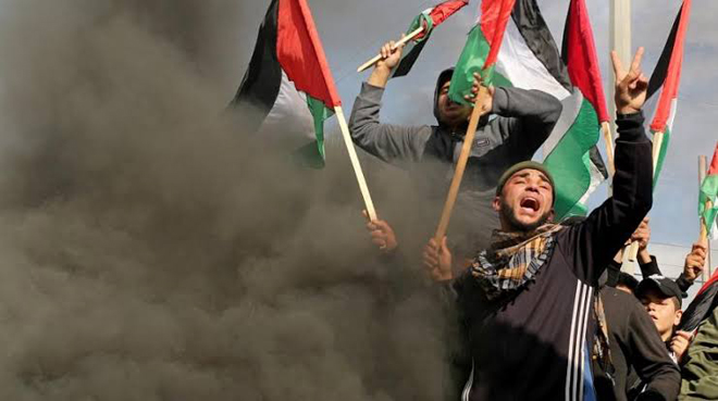 Palestinians protests against Trump's Middle East peace plan