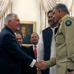 Pakistani Prime Minister Shahid Khaqan Abbasi, Chief of Army Staff, Qamar Bajwa and US Foreign Minister Rex Tillerson