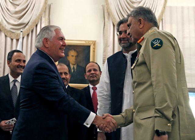 Pakistani Prime Minister Shahid Khaqan Abbasi, Chief of Army Staff, Qamar Bajwa and US Foreign Minister Rex Tillerson
