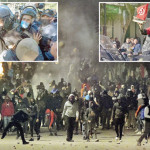 Clashes are taking place between police and troubled citizens