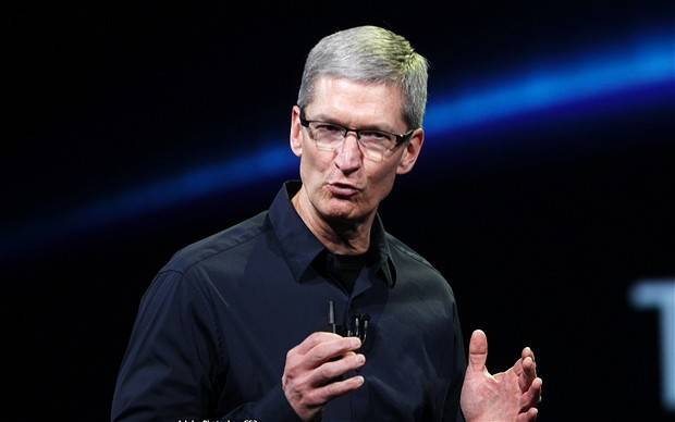 "Company name in the computer world, ""Apple Chief Executive Tim Cook"