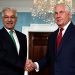U.S. Secretary of State Rex Tillerson with Pakistani Foreign Minister Khawaja Asif