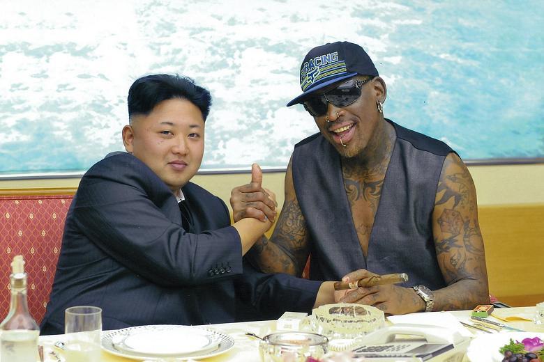 Retired US basketball player Dennis Rodman and head of North Korea Kim Jong Un