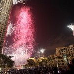 Colorful fireworks ready for the long building in the world Burj Khalifa
