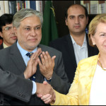 Secretary Economic Affairs Daviden Shahid Mehmood, French Ambassador in Pakistan Martine Dorance and AFD's Country Director Jacky Amprou and Federal Finance Minister Ishaq Dar