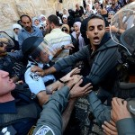 Israeli army and police against worshipers from the mosque after Friday prayers, thousands of people protested outside the Qibla