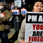 In front of Parliament 50,000 people protest against Japanese Prime Minister demanded resignation