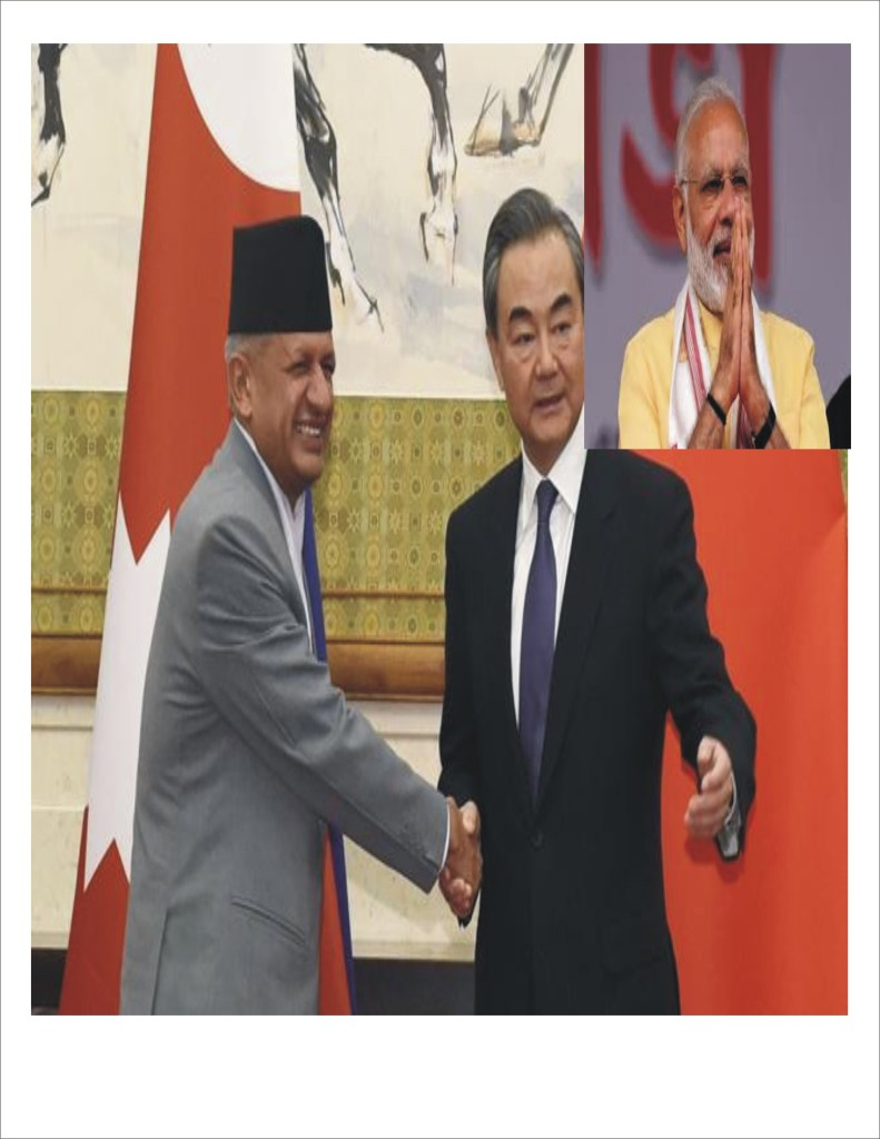 New Nepali Foreign Minister Pravid Kumar Jolie, Chinese Foreign Minister Wang Yi and Indian Prime Minister Narendra Modi