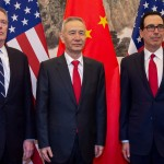 Trade negotiates US spokeswoman Robert Lighthizer and Secretary of Finance Steven Mnuchin while the Chinese Vice-Premier Liu's