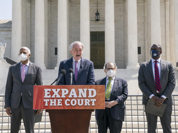 Democratic Rep. Hank Johnson, Sen. Ed Markey, House Judiciary Committee Chairman Jerrold Nadler and Rep. Mondaire Jones announce legislation Thursday to expand the number of seats on the U.S. Supreme Court outside the high court.