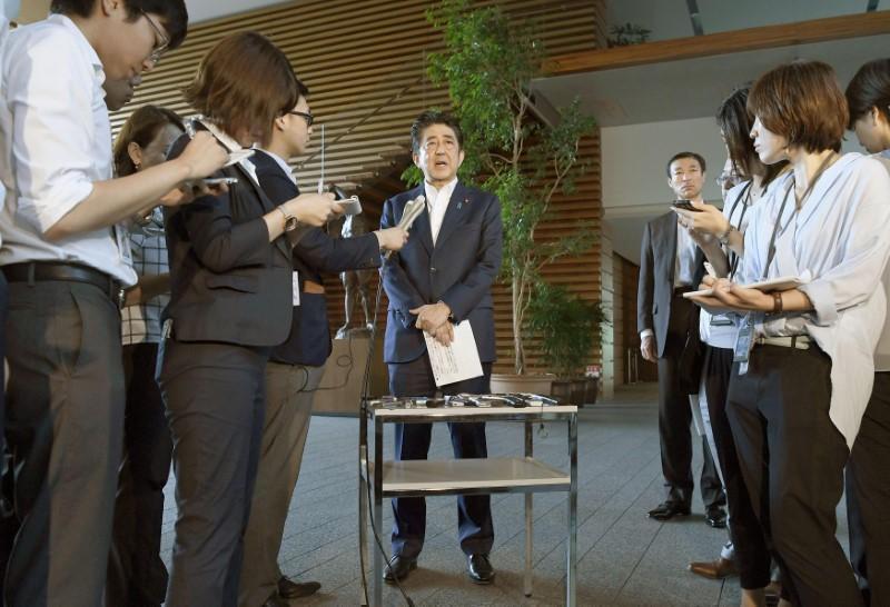 Japanese Prime Minister Shinzo Abe, speaking to the media