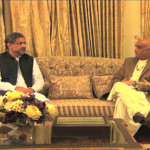 Prime Minister Shahid Khaqan Abbasi and opposition leader Khursheed Shah in the National Assembly