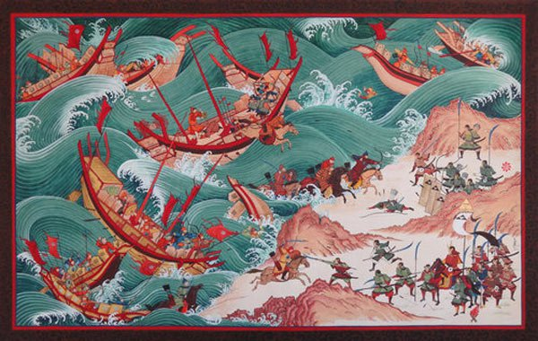 The powerful Naval Army of China's Mongolian emperor Kublai Khan attacked Japan by sea in November 1274