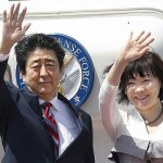 Japanese Prime Minister Shinzo Abe and with his wife Akie Abe