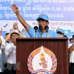 CPP President cum Prime Minister Hun Sen speaks on the last day of the election campaign