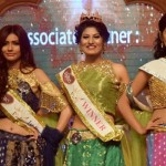 From left, Jessia Islam, Jannatul Nayeem Avril and Jannatun Sumaiya Himi, the top three of Lovello Miss World Bangladesh